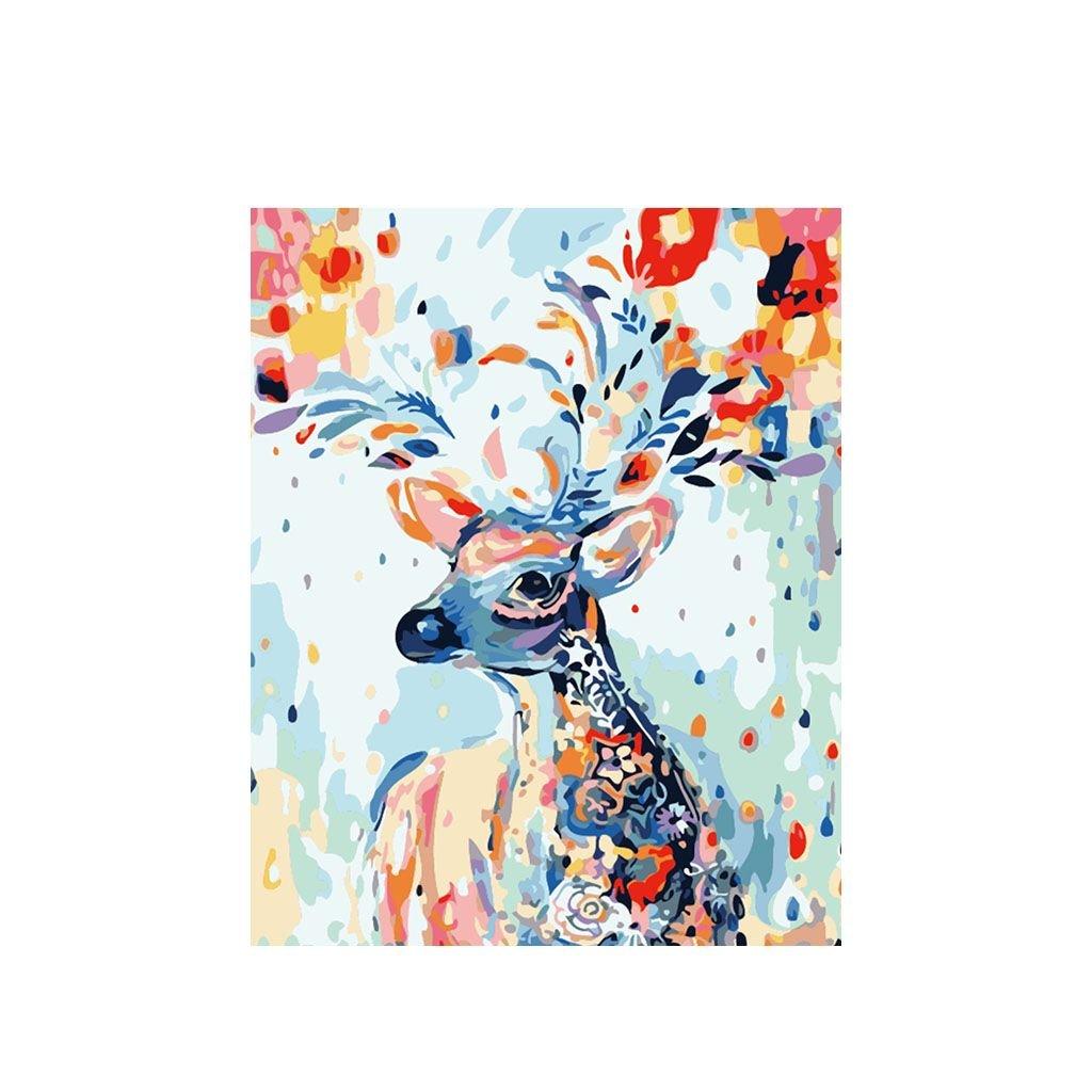 """Malování podle čísel s rámem """"Barevný jelen 3"""" 50x40cm"""