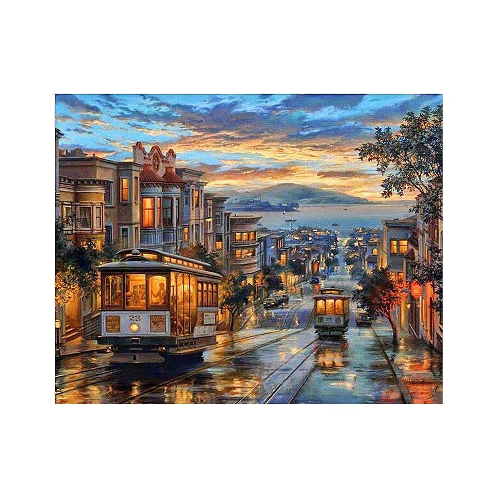 """Malování podle čísel s rámem """"San Francisco"""" 50x40cm"""
