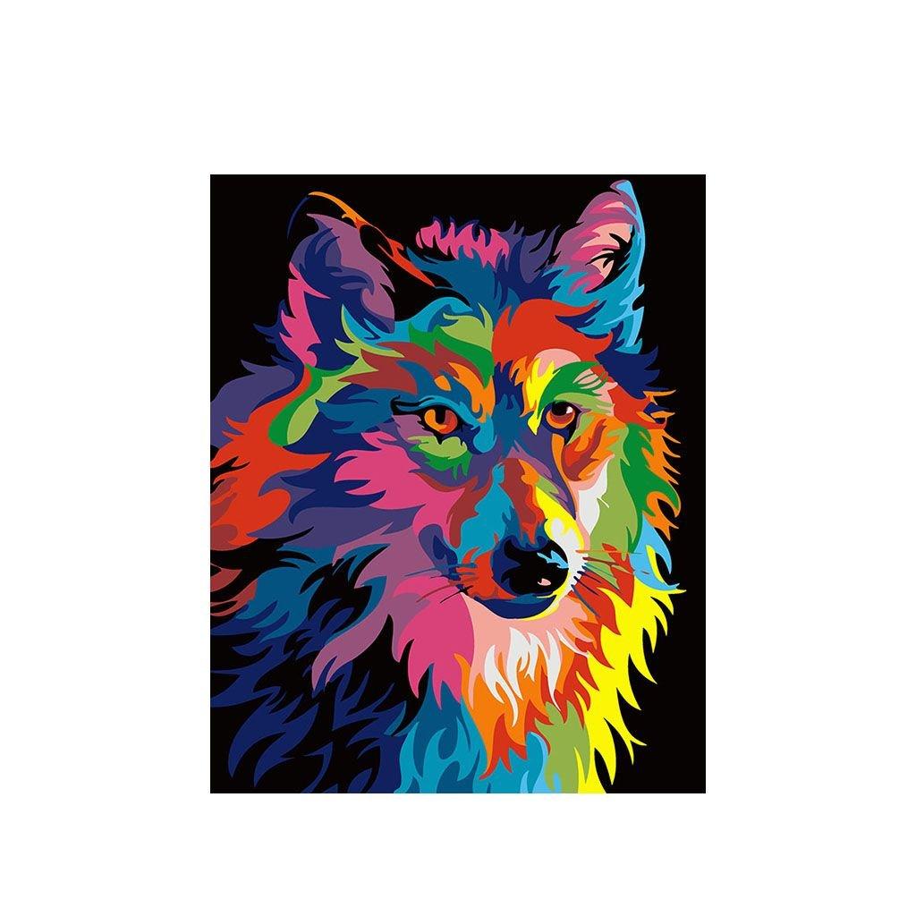 """Malování podle čísel s rámem """"Barevný vlk"""" 50x40cm"""