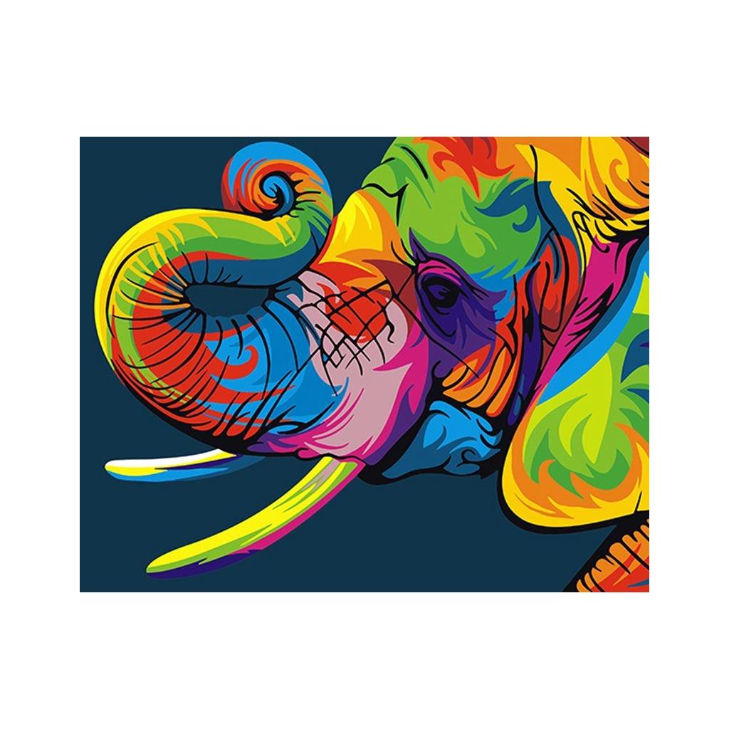 """Malování podle čísel s rámem """"Barevný slon"""" 50x40cm"""