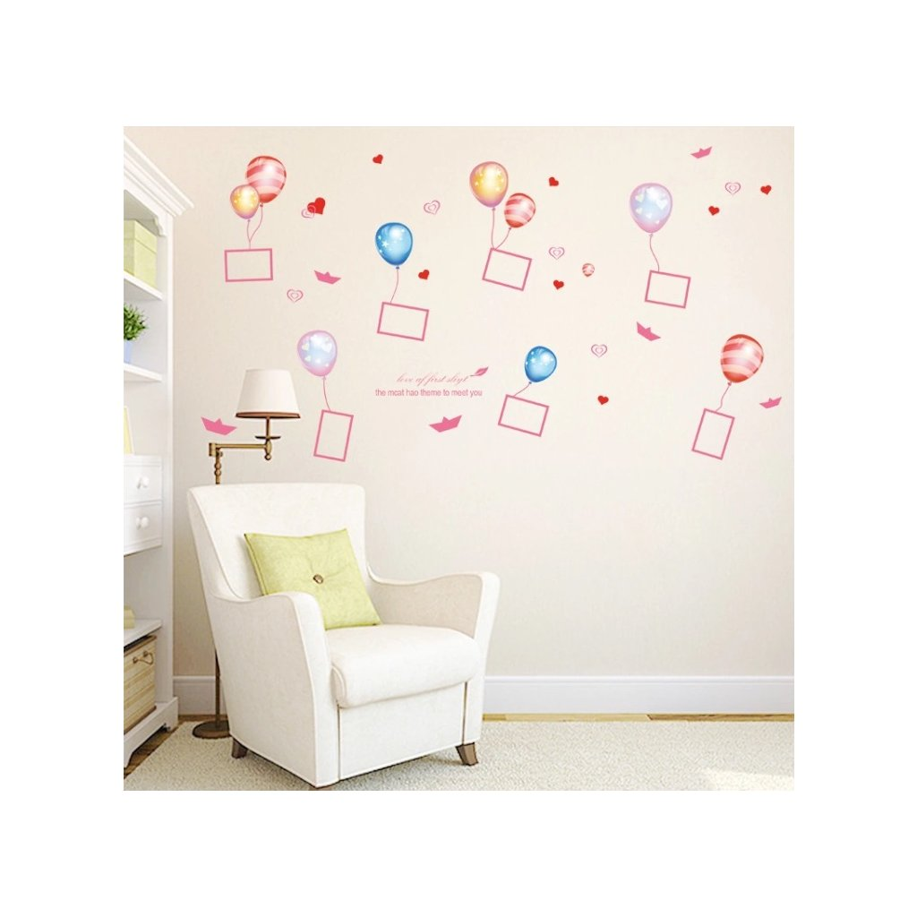 samolepiaca tapeta dekoracna samolepka na stenu nalepka balony s fotlami pre deti interierovy dizajn nahlad stylovydomov