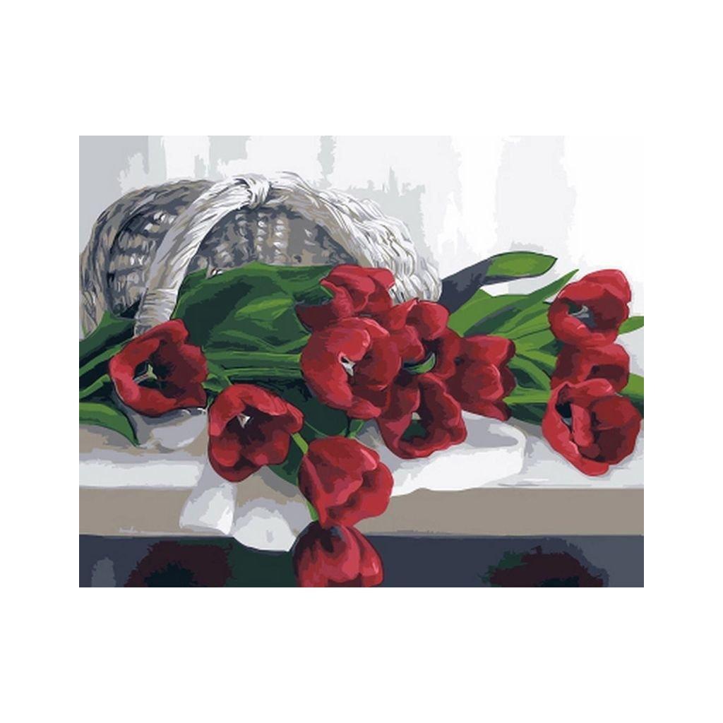 """Malování podle čísel s rámem """"Červené tulipány"""" 50x40cm"""