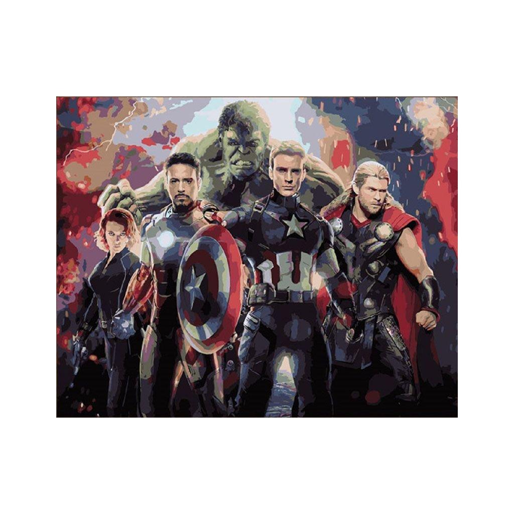 """Malování podle čísel s rámem """"Avengers 4"""" 50x40cm"""