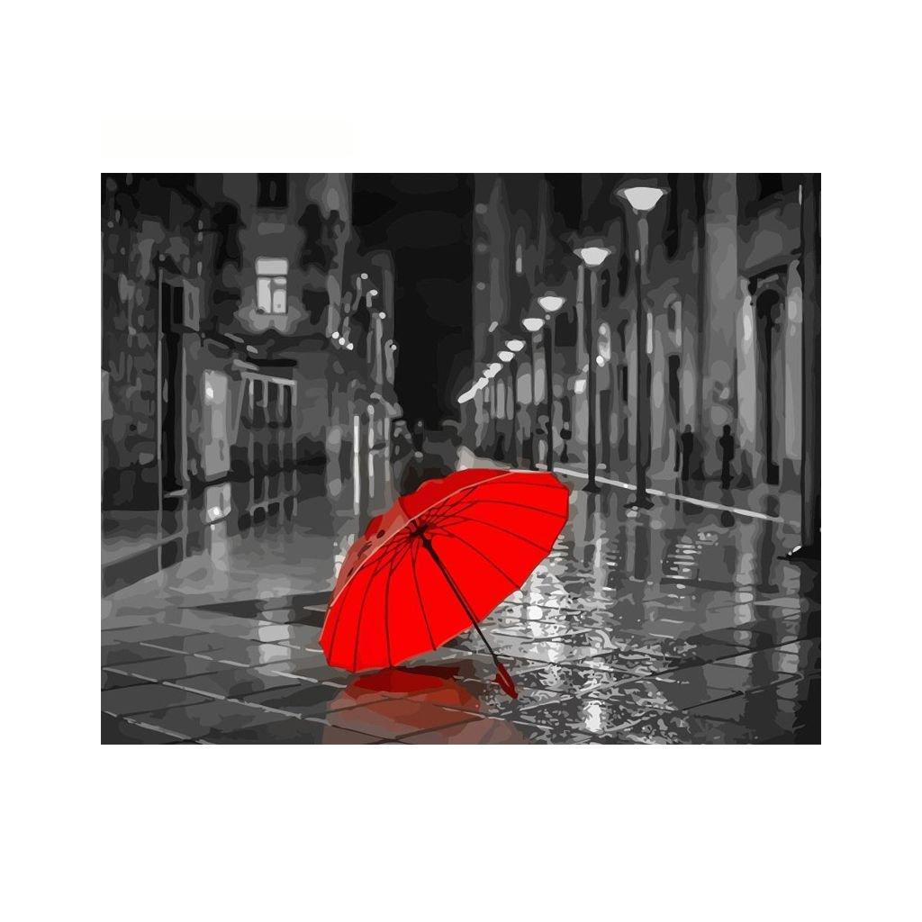 """Malování podle čísel s rámem """"Červený deštník"""" 50x40cm"""