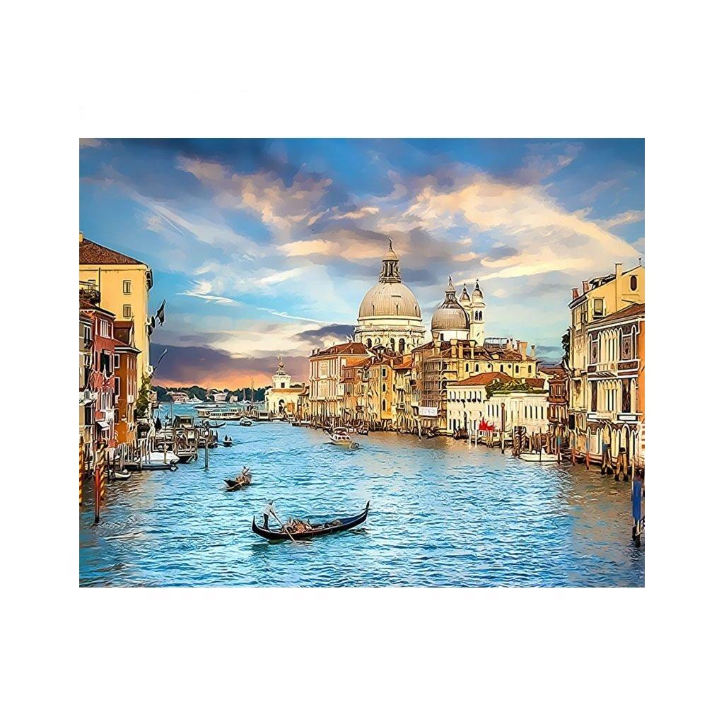 """Malování podle čísel s rámem """"Benátky 3"""" 50x40cm"""