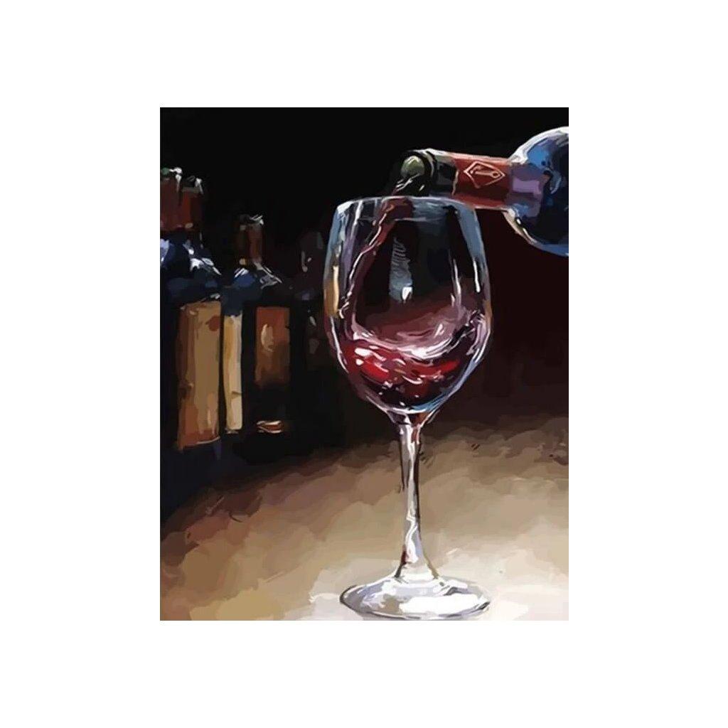 """Malování podle čísel s rámem """"Pohár vína"""" 50x40cm"""