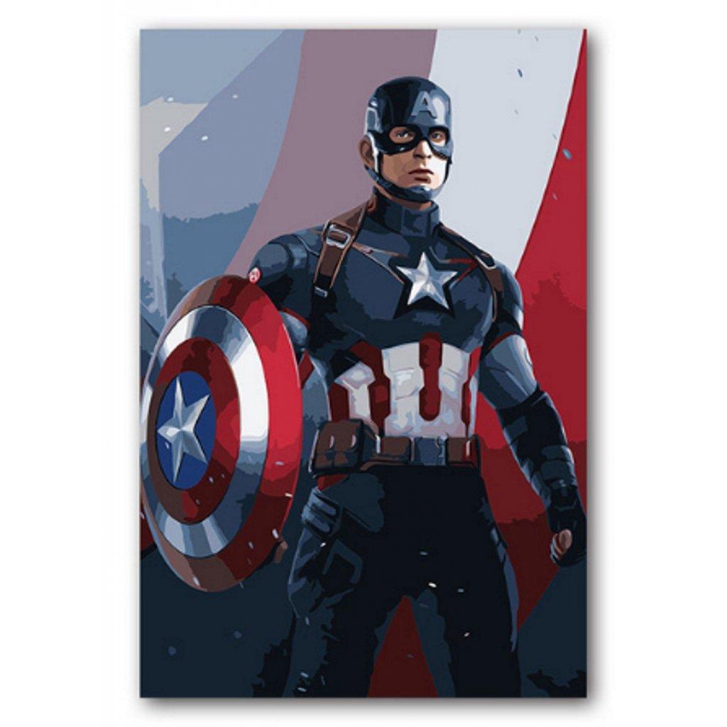 """Malování podle čísel s rámem """"Kapitán Amerika 2"""" 50x40cm"""