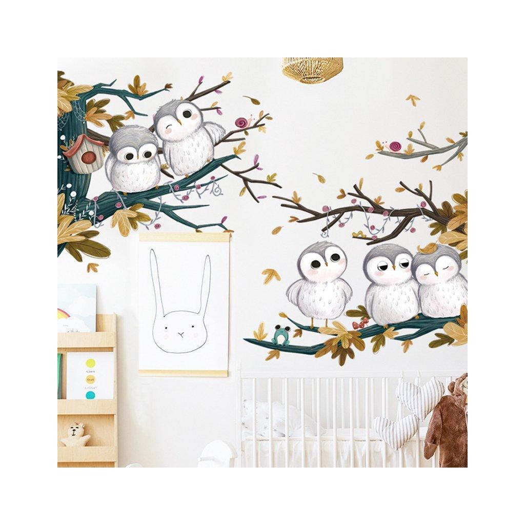 """Samolepka na zeď """"Sovy"""" 82 x 82 cm"""