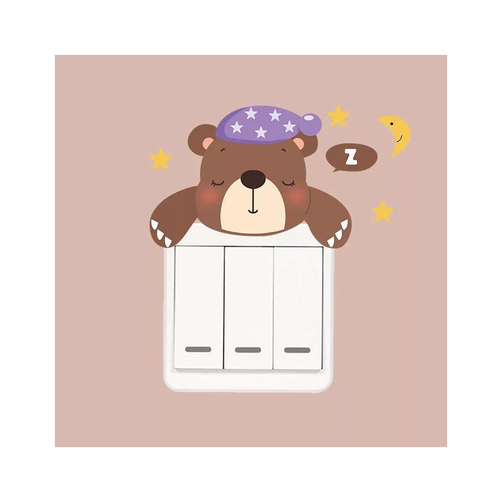 """Samolepka na vypínač """"Spící medvěd"""" 14x7 cm"""