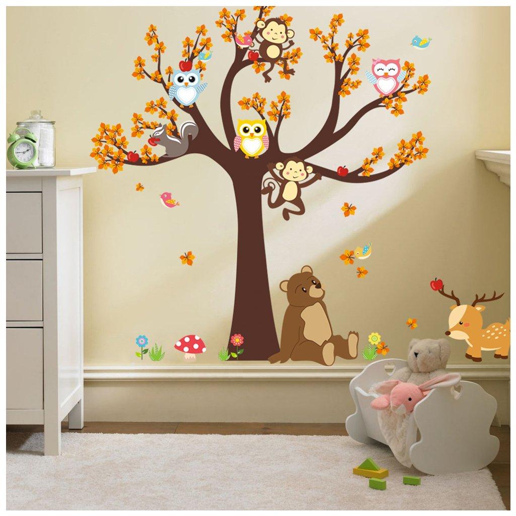 detska samolepka na stenu samolepiaca tapeta dekoracna nalepka pre deti strom zvieratka les lesne zvieratka nahlad stylovydomov