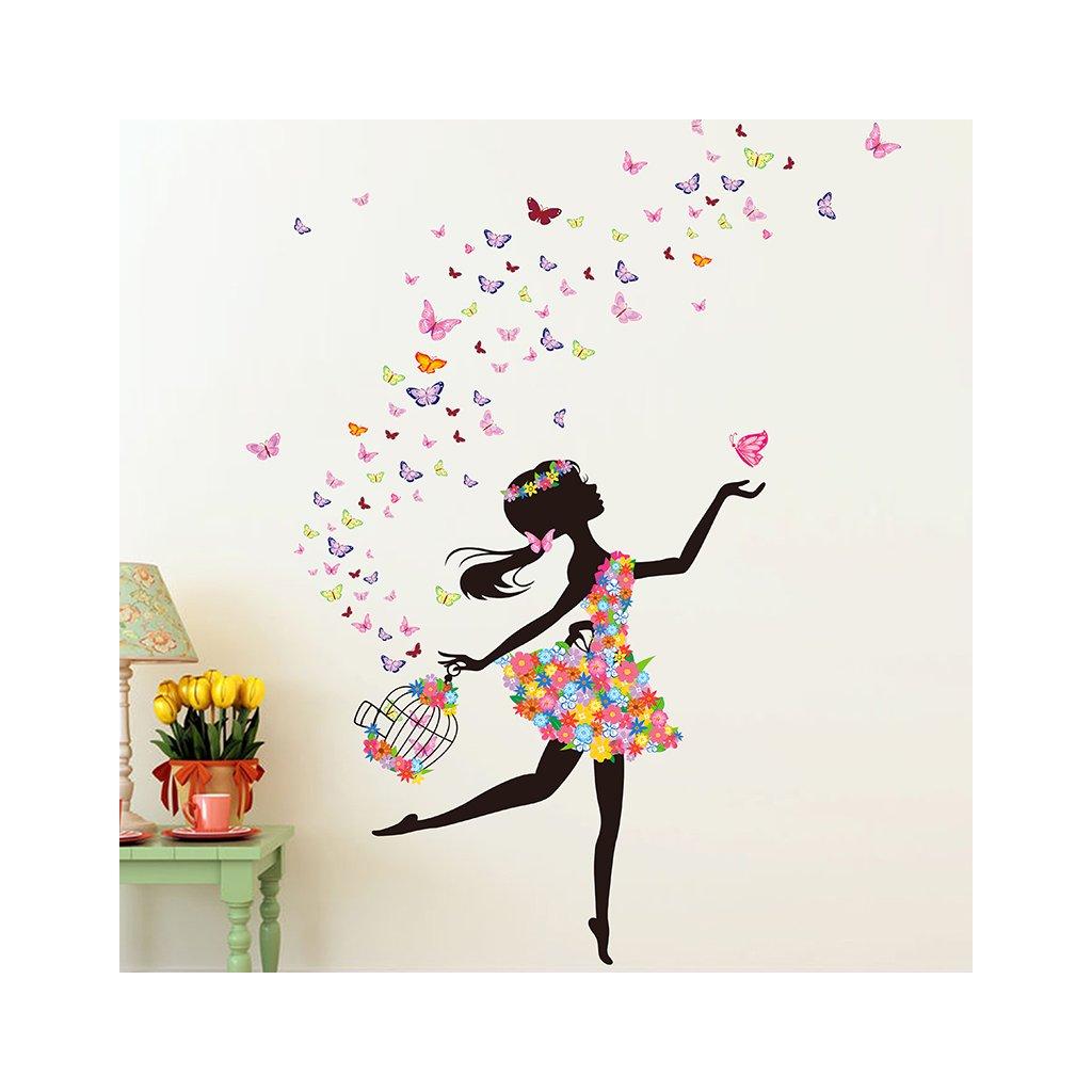 detska samolepka na stenu samolepiaca tapeta dekoracna nalepka pre deti dievca na bicykli s motylmi a klietkou nahlad stylovydomov
