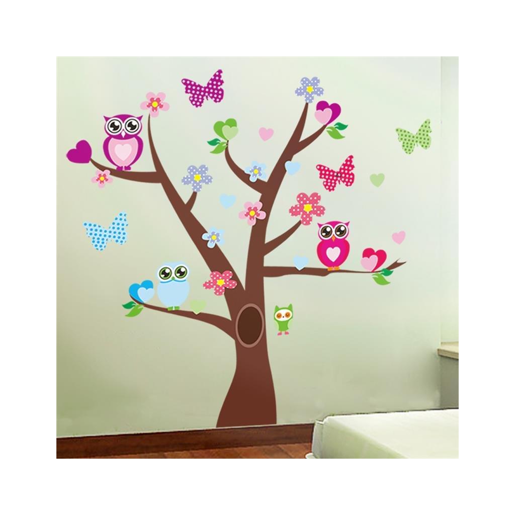 detska samolepka na stenu samolepiaca tapeta dekoracna nalepka pre deti strom sovicky na strome vizualizacia stylovydomov