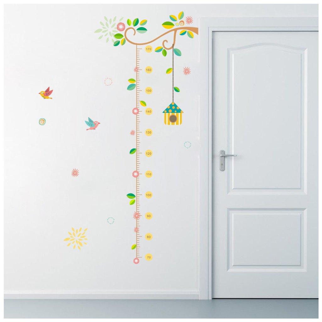 detska samolepka na stenu samolepiaca tapeta dekoracna nalepka pre deti detsky meter vtaciky nahlad stylovydomov