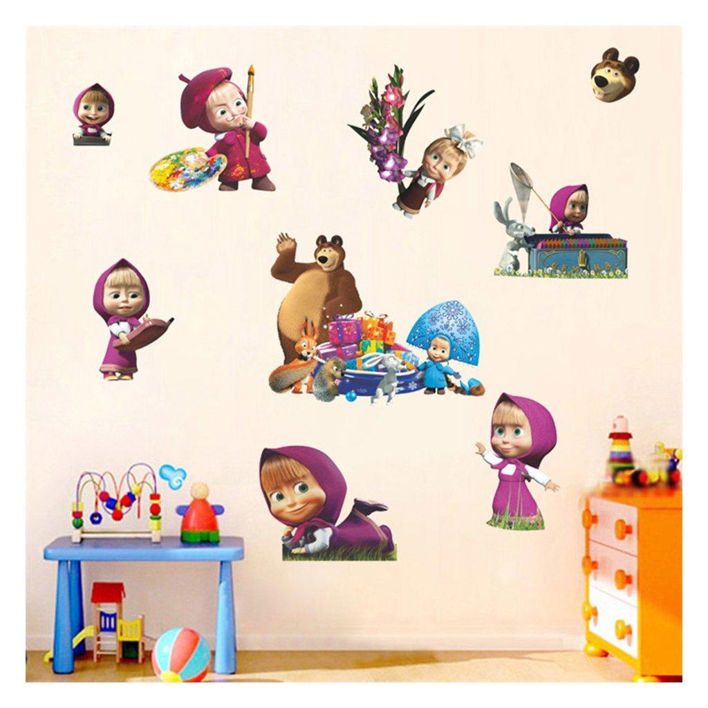 detska samolepka na stenu samolepiaca tapeta dekoracna nalepka pre deti masa a medved vizualizacia stylovydomov