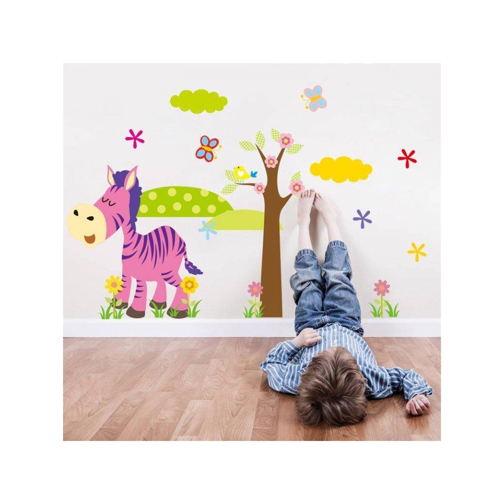 detska samolepka na stenu samolepiaca tapeta dekoracna nalepka farebna zebra so stromom nahlad stylovydomov