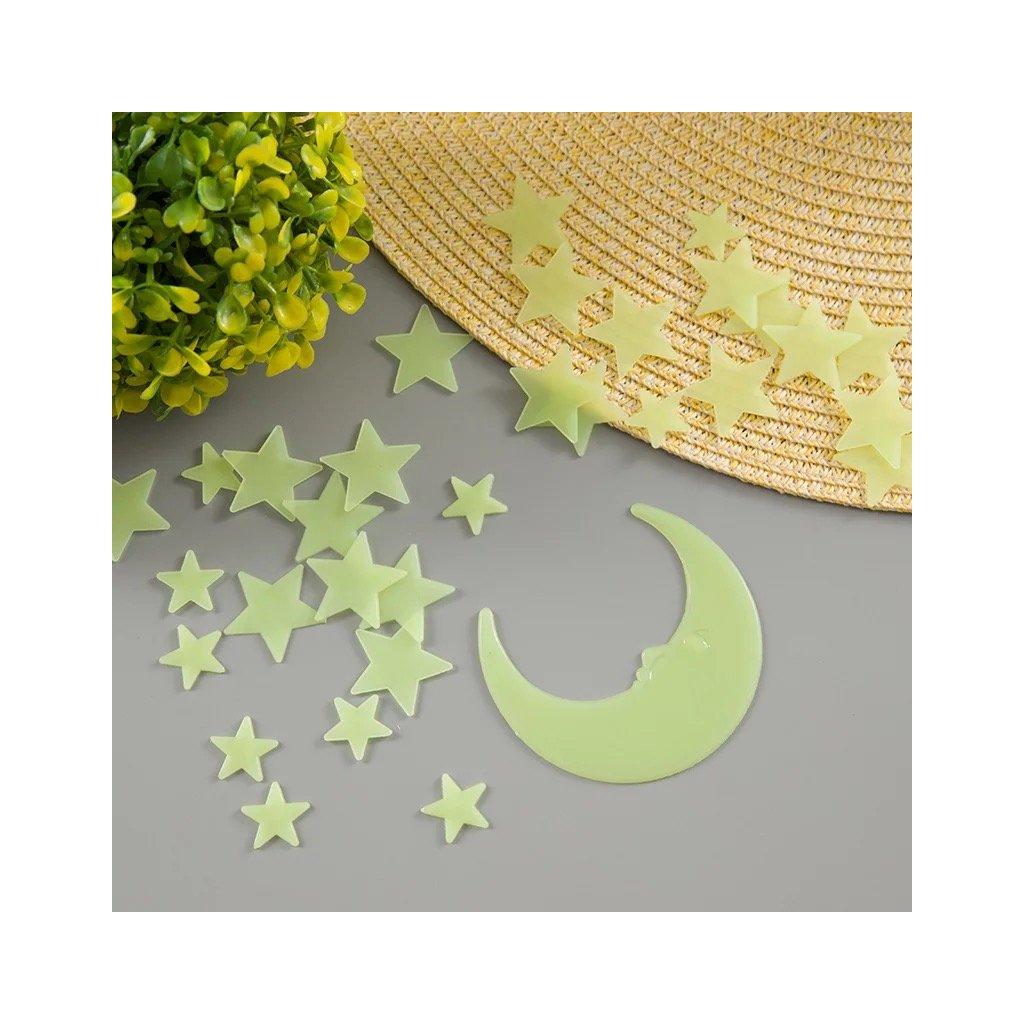 detska samolepka na stenu samolepiaca tapeta dekoracna nalepka fosforove hviezdicky nahlad stylovydomov