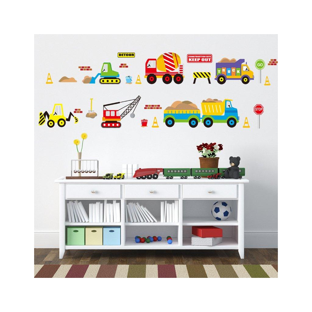 samolepka na stenu pre deti detska nalepka dekoracia nakladne auta vizualizacia stylovydomov