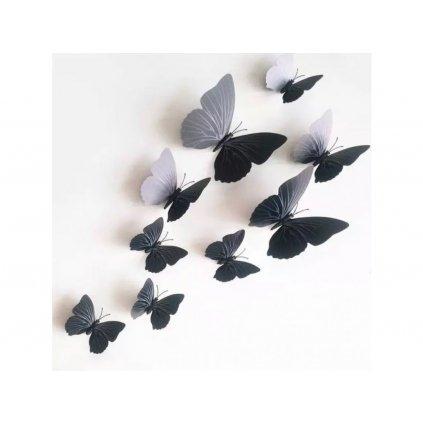 """Samolepka na zeď """"Plastové černé 3D motýli"""" 12 ks 6-12 cm"""