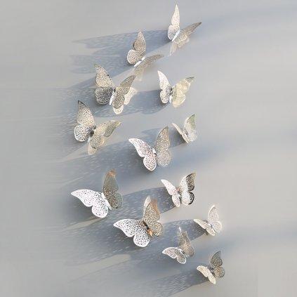 plastove metalicke motyle na stenu strieborne interierovy dizajn dekoracia nahlad stylovydomov