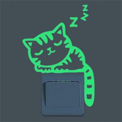 """Fosforová samolepka na vypínač """"Spící kočička"""" 14x17 cm"""