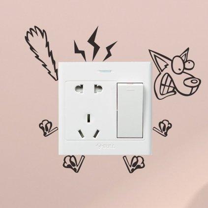 """Samolepka na vypínač """"Elektrický pes"""" 11x8 cm"""