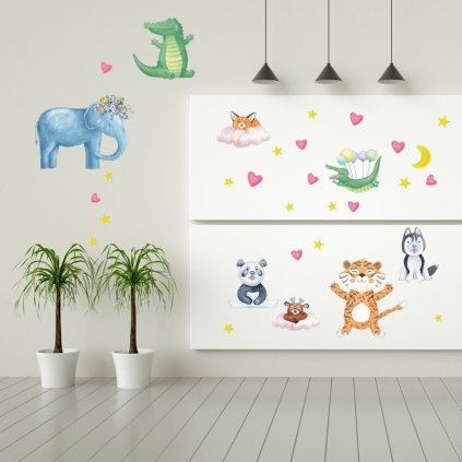 """Samolepka na zeď """"Exotické zvířátka"""" 60x108 cm"""