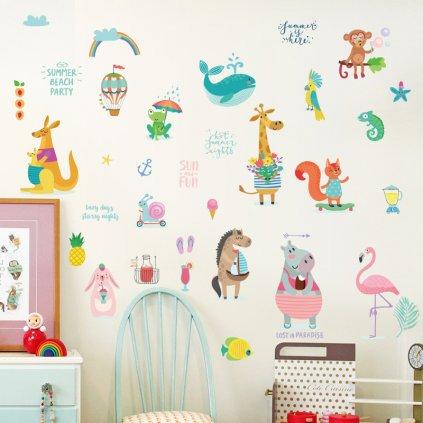 """Samolepka na zeď """"Veselé zvířátka 3"""" 48x70 cm"""