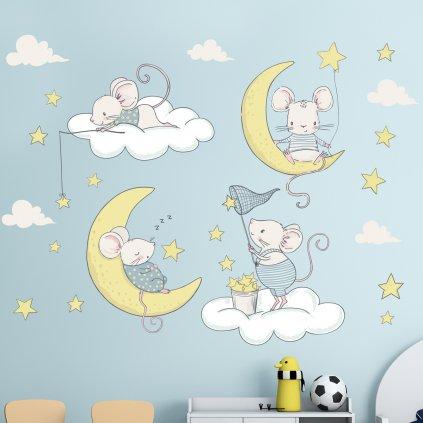 """Samolepka na zeď """"Myšky na obláčcích"""" 55x74 cm"""