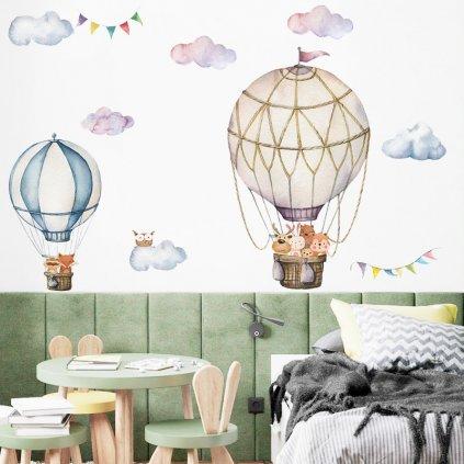 """Samolepka na zeď """"Horkovzdušné balóny se zvířátky 3"""" 87x90 cm"""