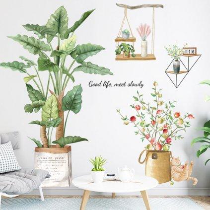 """Samolepka na zeď """"Rostliny v květináči 2"""" 93x91 cm"""
