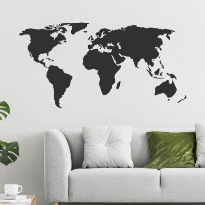"""Samolepka na zeď """"Mapa světa - černá"""" 64x125 cm"""