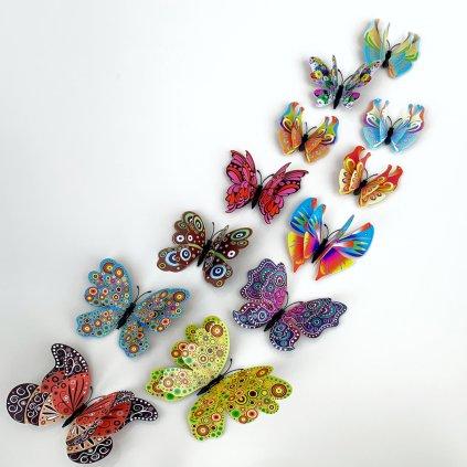 M 021 Realistické plastové 3D Motýle s dvojitými krídlami farebné kópia