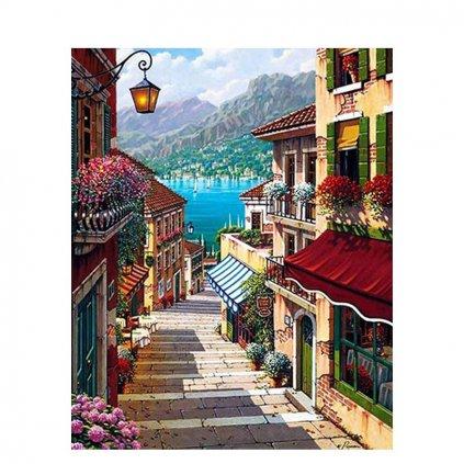 """Malování podle čísel s rámem """"Sardinie"""" 50x40cm"""