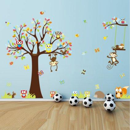 detska samolepka na stenu samolepiaca tapeta dekoracna nalepka pre deti zvieratka dzungla strom sovicky opicky vizualizacia stylovydomov