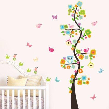 detska samolepka na stenu samolepiaca tapeta dekoracna nalepka pre deti detsky strom sovicky nahad stylovydomov
