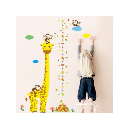detska samolepka na stenu samolepiaca tapeta dekoracna nalepka pre deti detsky meter zirafa s opickami nahlad stylovydomov