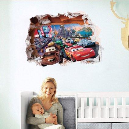 detska samolepka na stenu samolepiaca tapeta dekoracna nalepka pre deti 3D auta cars nahlad stylovydomov