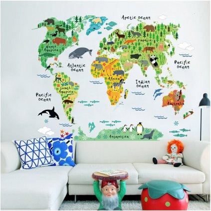 detska samolepka na stenu samolepiaca tapeta dekoracna nalepka pre deti farebna mapa sveta 2 nahlad stylovydomov