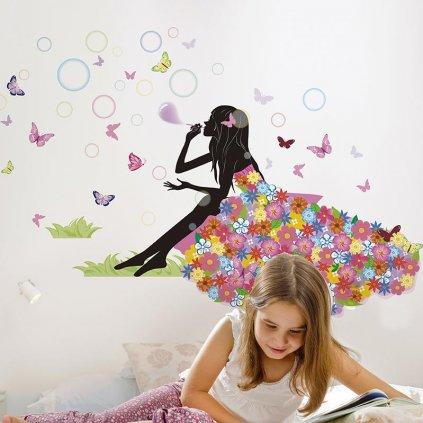 detska samolepka na stenu samolepiaca tapeta dekoracna nalepka sediace dievca s motylmi nahlad stylovydomov