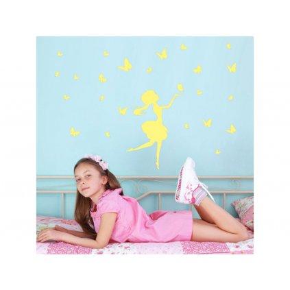 detska samolepka na stenu samolepiaca tapeta dekoracna nalepka fosforove dievca s motylmi nahlad stylovydomov