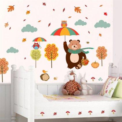 detska samolepka na stenu samolepiaca tapeta dekoracna nalepka medved s dazdnikom nahlad stylovydomov