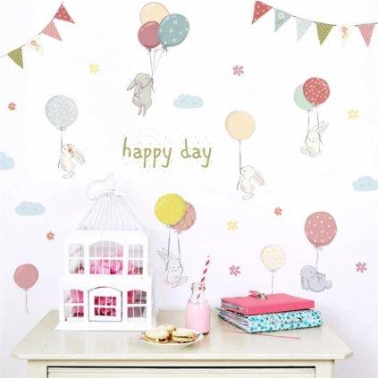 detska nalepka samolepka pre deti zajace s balonmi stylovydomov