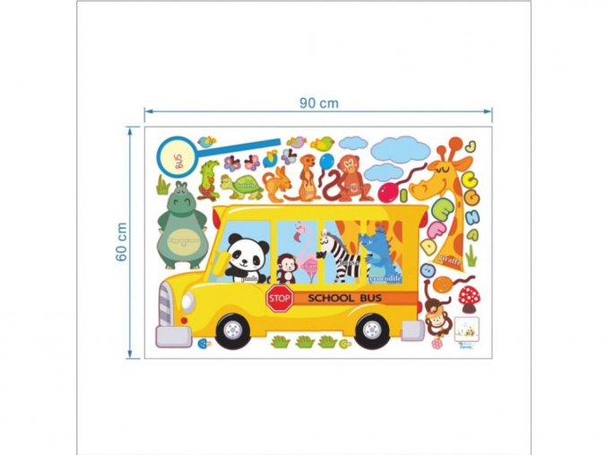 """Samolepka na zeď """"Autobus se zvířátky"""" 170x100 cm"""