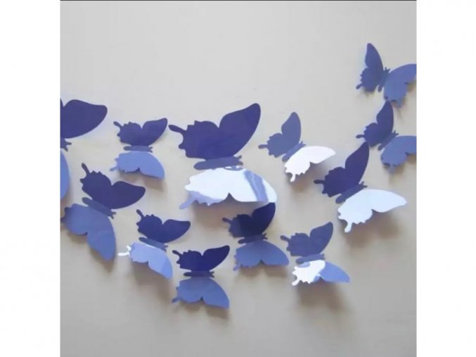 """Samolepka na zeď """"Plastové 3D Motýli - Fialové"""" 12ks 5-10 cm"""