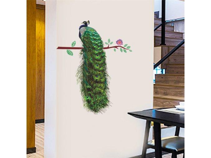 samolepiaca tapeta dekoracna samolepka na stenu nalepka farebny pav interierovy dizajn dekoracia nahlad stylovydomov