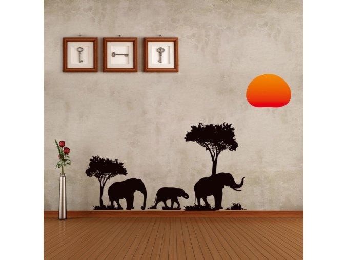 samolepiaca tapeta dekoracna samolepka na stenu nalepka vinyl africke slony styl interierovy dizajn dekoracia vizualizacia stylovydomov