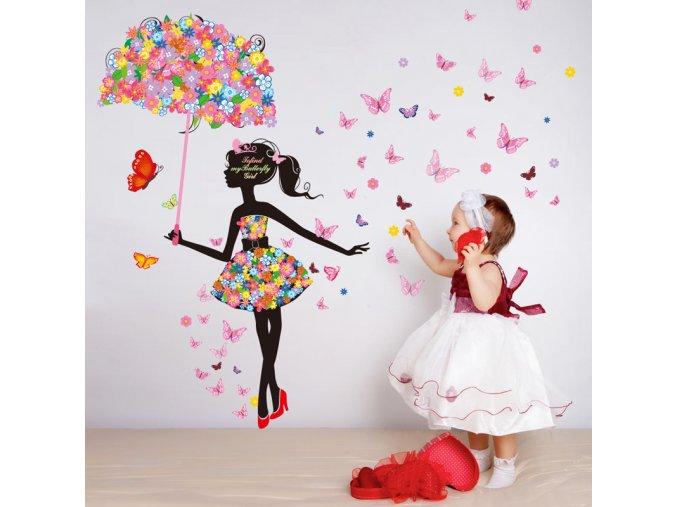 detska samolepka na stenu samolepiaca tapeta dekoracna nalepka pre deti dievca s motylmi nahlad stylovydomov