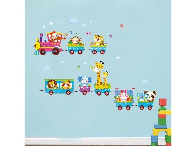 detska samolepka na stenu samolepiaca tapeta dekoracna nalepka pre deti farebny vlacik 2 nahlad stylovydomov
