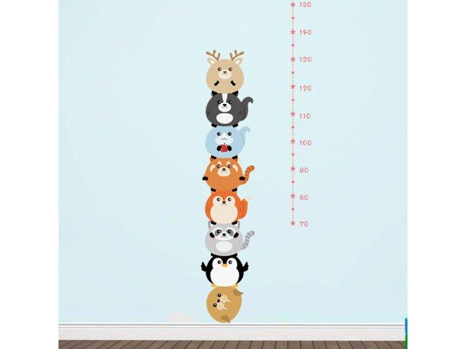 detska samolepka na stenu samolepiaca tapeta dekoracna nalepka pre deti detsky meter zvieratka nahlad stylovydomov