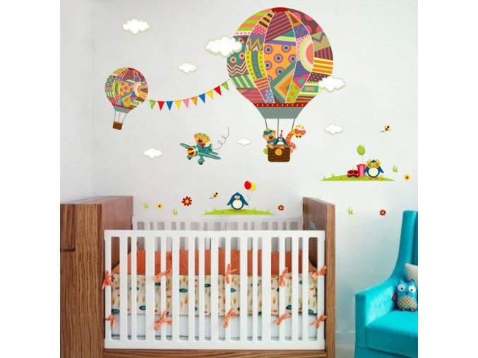 detska samolepka na stenu samolepiaca tapeta dekoracna nalepka pre deti lietajuce balony so zvieratkami nahlad stylovydomov